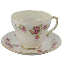 Duchess June Bouquet china has a classic floral design of shades of pink Rose buds, green foliage with a gold band on pure white fine English bone china.  It also represents very good value for an English made bone china set and is just right for Afternoon Tea!