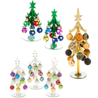Beautiful decorated glass Christmas trees with removable baubles.