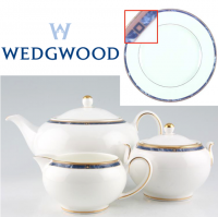 <span>Wedgwood Cantata was produced from 1994 - 1999. This fine white china has a blue marble band with tan Squares and gold trim.<br /><br /><span>Made in England.</span><br /></span>