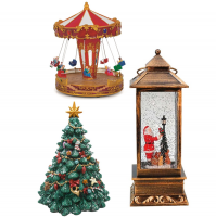 Christmas snow globes, music boxes, christmas trees and much more. All playing Christmas melodies.