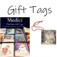 Little packs of gift tags! Each pack has 8 tags (2 designs). Each tag is strung with red string.<br /><br />These gift tags are made by Medici.