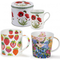 Lovely mugs with floral and fruit designs.