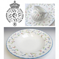 <p>Forget-Me-Not was introduced as a new Royal Worcester giftware pattern at the 1984 NEC Spring Fair in a short range of shapes. The pink and blue pattern was an immediate success and the range was extended.</p>