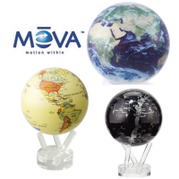 <span>The MOVA globe is a world globe that turns gently using solar energy and the earth's magnetic field. No batteries or wires are required. Simply place the Mova globe on its stand and your Mova globe will come to life and start to turn when exposed to natural or artificial light. Light passes through the graphic design onto specialised solar cells within the globe. These cells provide an electric current to a drive mechanism that moves the globe at a very low speed. The Mova globe floats at a perfect point of balance between gravitational forces of the surrounding fluids. Carefully designed to operate in complete silence, the Mova globe turns at a peaceful and tranquil pace.</span><br /><br /><span>The MOVA globes work well near a window but should be positioned so that they receive minimal exposure to bright, direct sunlight. They are heavy for their size but are a spectacular eye-catching product, an ideal focal point for any room or office.</span>