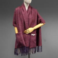38AVDG Cobble Woollen Wrap with Pockets Berry