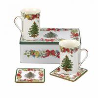 8474 Spode Holly Ribbons 5pc Mug & Coaster Set