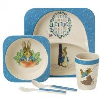 Eco-friendly children's dinner sets made from bamboo melamine and packaged in recycled craft card, making thoughtful gifts to appeal to the eco-minded gift giver.