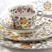 Ideal for both the big occasion and everyday dining, Minton Haddon Hall lets you lay the table with an ingenious twist on traditional, floral themed white bone china: it's distinctive decorative pattern is inspired by a tapestry hanging in the English country hall of that name in Derbyshire. <br /><br />Made in England.