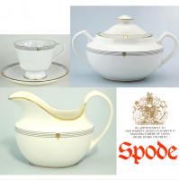 <span>Spode Opera (Y8580) with gold trim was produced from 1992 to 2004.<br /><br />Fine Bone China Made in England.</span>