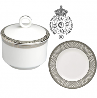 A contemporary interpretation of classic elegance, the Corinth Platinum collection presents a strongly geometric Greek key motif as a formal border to pristine white bone china. Executed in one of today's most lustrous metals and layered with a shimmering silver texture, the effect at the table is both richly dimensional and handsomely sophisticated. Royal Worcester crafts each piece in the Tempo shape, which features simple, full-bodied profiles, narrow handles, and tidy rims. Choose from place settings, accent pieces, and a wide range of serveware to beautifully design a full Corinth table. Despite its delicate appearance, bone china is suitably durable for regular use and enjoyment.<br /><br />Royal Worcester Corinth Platinum was produced from 2002 to 2012.&nbsp;