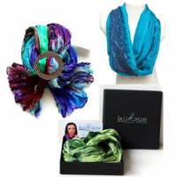 <p>Made in Scotland - Silk scarves with pewter scarf rings and brooches. All gift boxed.</p>