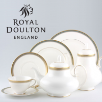 <span>Royal Doulton Clarendon (H4993) was produced from 1967 to 2001. The gold trim on this pattern means it is not safe for use in the microwave. <br /><br />Made in England</span>
