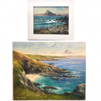 We have a selection of original paintings by Richard Blowey available for sale. Familiar scenes of Newlyn and Cornwall are depicted in these well known paintings. Painted in oil paints on stretched canvas. Most are already framed by us.<br /><br /><span>Having spent a few years working as a fisherman and ever since the 1970's working on farms in the West Cornwall area, Richard Blowey has become an expert observer of the motion of the sea and the nature of the countryside around him. In his maturity, he has reached a high standard of art in his interpretations of the natural beauty of Cornish landscapes and seascpes.</span>