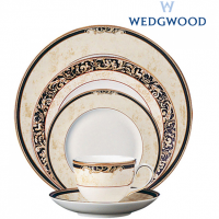 Wedgwood Cornucopia is inspired by the mythical 'Horn of Plenty,' and is characterized by designs featuring legendary creatures like unicorns and satyrs. The collection is made from fine bone china whiteware and decorated with wide band of ivory parchment, ribboned by dark navy, roped with an ochre accent and rimmed in lustrous 22-carat gold.<br /><br />Made in England.