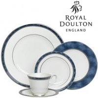 "<p class=""bodytext"">Thanks to its combination of classic style and modern versatility, the Royal Doulton Atlanta tableware collection satisfies both casual and elegant dining needs. Bold yet sophisticated, Atlanta blends a pristine white Langdale bone china base with a richly marbled denim-blue border. Drawing inspiration from the ancient world, the pattern features a platinum Greek key bead design that is subtle yet intriguing, as well as lustrous platinum rims. Created for full service, Atlanta includes place settings as well as a wide range of open-stock serveware and accent pieces. All pieces carry the Royal Doulton stamp and are safe in the dishwasher and oven on low temperatures. The platinum trim on this pattern means it is not safe for use in the microwave.</p>