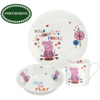 Enter the amazing world of Peppa Pig with this new range of tableware and gifts. The eye catching design features leading characters, five-year old Peppa and her younger brother George, set in a series of colourful designs that depict the pair having plenty of fun in muddy puddles. The fun design also appears on the packaging, making it for the perfect gift for Peppa fans everywhere. This product is designed in our studios in Stoke on Trent, England. This item is manufactured outside of the UK to the stringent quality and craftsmanship that Portmeirion Group is known for.