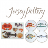 <strong><span> This is a Discontinued Range by Jersey Pottery - NOW 15% OFF EVERYTHING.<br /><br /></span></strong><span>Jersey Pottery's Fruits de Mer range of ceramics, as seen at Borough Market, was inspired by the marine-life rich waters surrounding the Channel Islands, home to some of the finest fish and shellfish in the world. Manufactured by Jersey Pottery with fish designs from original paintings by artist Richard Bramble, the ceramic tableware collection of plates, dishes, mugs, bowls and platters is made of durable porcelain that can stand up to the rigours of professional use. The ceramics are complemented by co-ordinated accessories such as tablemats and coasters. Instantly recognisable, Jersey Pottery's Fruit de Mer with designs by Richard Bramble has become a classic and can now be found all over the world gracing tables of beautiful homes and fine restaurants. Fruits de Mer is made from durable porcelain (mugs from bone china).<br /><br /><strong>*We have tablemats and coasters in all our other Jersey Pottery ranges but unfortunately these are not available for us to sell online. Available in store only. Please call if you have any queries.*</strong></span>