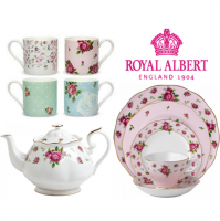 Embrace a contemporary take on a classic with the New Country Roses collection. A modern adaptation of the original and best New Country Roses design, this new twist sees the statement signature floral pattern sit atop a stunning soft backdrop for a girlish demeanour and delightful appeal. Crafted to superior quality from fine bone china, this compilation of pieces is vibrant and vivacious, featuring a gorgeous vintage pattern in a soft brushed finish. A charmingly fashioned afternoon tea set, classic forms meet intricate detailing with vibrant colours and a lustrous gold rim. Mix and match pieces such as cups and saucers with dessert plates to create your very own tea party set to sit with friends for the most perfect afternoon-tea setting. Beautifully finished teapots will pour your favourite flavours into delicate teacups that rest atop of matching saucers for a modern decadence that boasts a youthful touch.